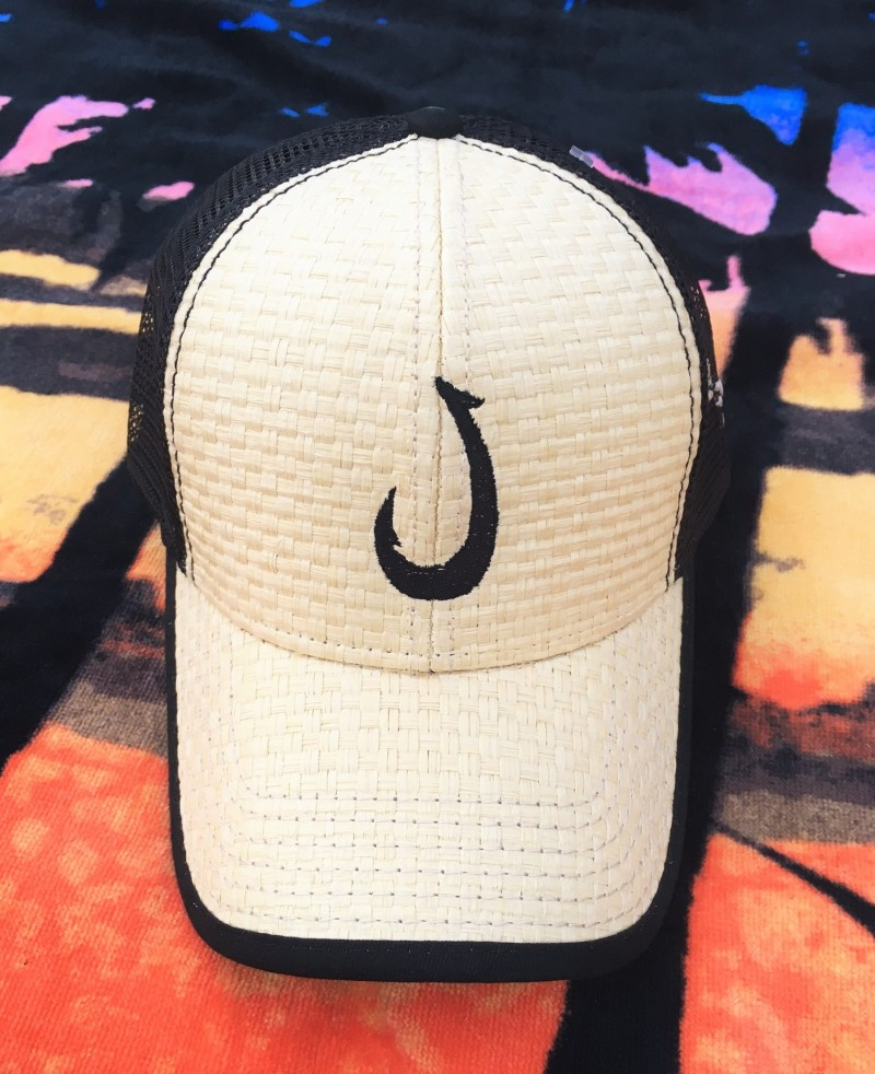 882679e3c Black and Woven Embroidered Makau Fish Hook Trucker Hat Free Shipping